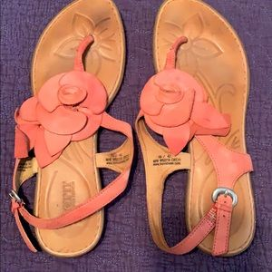Leather rose sandals